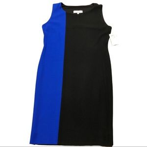 Exclusively Misook L Blue Black Color Block Dress